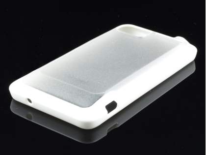 COCASES Dual-Design Case plus Screen Protector for HTC Velocity 4G - White/Frosted Clear