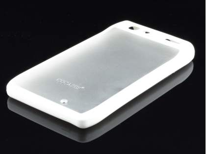 COCASES Dual-Design Case plus Screen Protector for Motorola RAZR - White/Frosted Clear