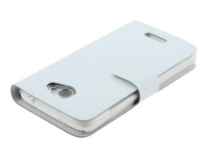 HTC One X / XL / X+ Slim Genuine Leather Portfolio Case - Pearl White