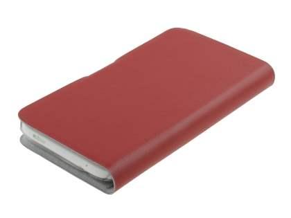 HTC One X / XL / X+ Slim Genuine Leather Portfolio Case - Red