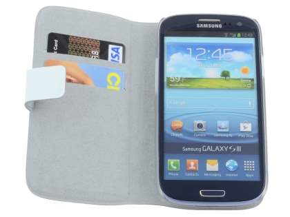 Samsung I9300 Galaxy S3 Slim Genuine Leather Portfolio Case - White