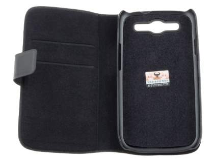 Slim Genuine Leather Portfolio Case for Samsung I9300 Galaxy S3 - Classic Black