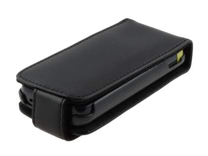 Genuine Leather Flip Case for Nokia C5-03 - Classic Black