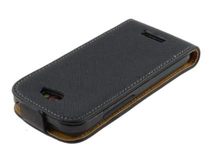 Slim Synthetic Leather Flip Case for HTC One S - Classic Black