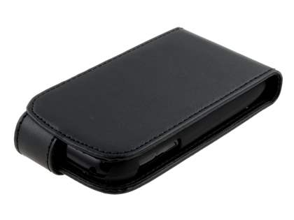 LG P690 Optimus Spirit Synthetic Leather Flip Case - Black