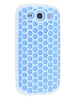 Dual-Design Case for Samsung I9300 Galaxy S3 - White/Blue