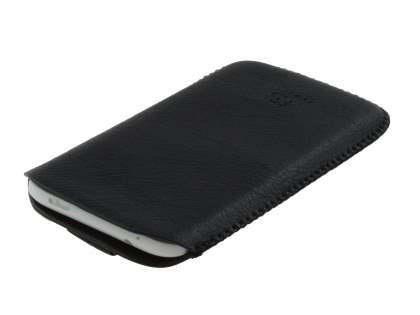Synthetic Leather Slide-in Case with Pull-out Strap for HTC One X / XL / X+  - Classic Black
