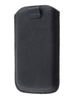 Synthetic Leather Slide-in Case with Pull-out Strap for Samsung I9250 Google Galaxy Nexus - Classic Black Leather Slide-in Case