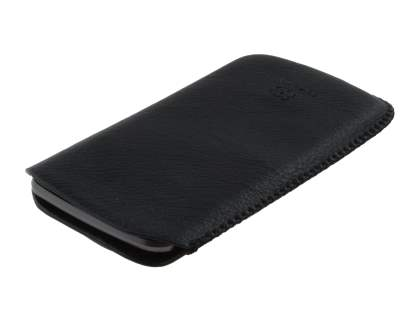 Synthetic Leather Slide-in Case with Pull-out Strap for Samsung I9250 Google Galaxy Nexus - Classic Black