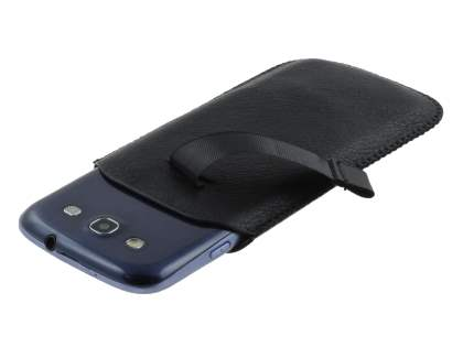 Synthetic Leather Slide-in Case with Pull-out Strap for Samsung Galaxy S3/S4 - Classic Black
