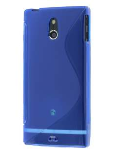 Wave Case for Sony Xperia P LT22i - Frosted Blue/Blue Soft Cover