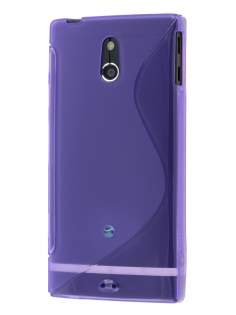 Wave Case for Sony Xperia P LT22i - Frosted Purple/Purple Soft Cover