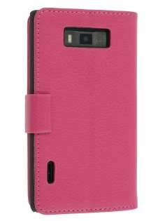 LG Optimus L7 P700 Slim Synthetic Leather Wallet Case with Stand - Pink Leather Wallet Case