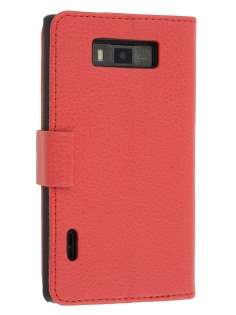 LG Optimus L7 P700 Slim Synthetic Leather Wallet Case with Stand - Red Leather Wallet Case