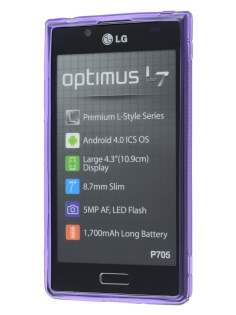 Wave Case for LG Optimus L7 P700 - Frosted Purple/Purple