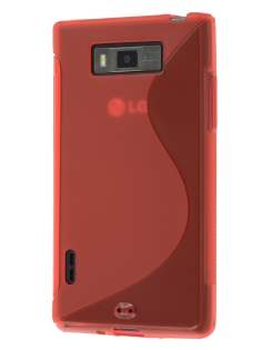 Wave Case for LG Optimus L7 P700 - Frosted Red/Red Soft Cover