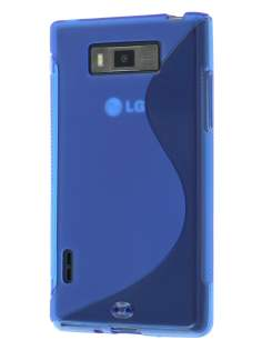 Wave Case for LG Optimus L7 P700 - Frosted Blue/Blue Soft Cover