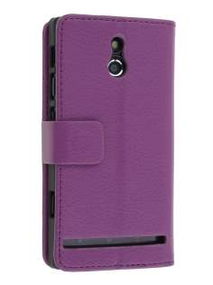 Sony Xperia P LT22i Slim Synthetic Leather Wallet Case with Stand - Purple