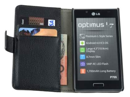 LG Optimus L7 P700 Slim Synthetic Leather Wallet Case with Stand - Black