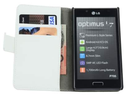LG Optimus L7 P700 Slim Synthetic Leather Wallet Case with Stand - White