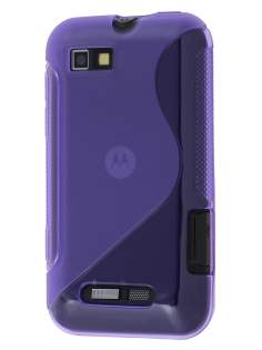 Wave Case for Motorola Defy Mini XT320 - Frosted Purple/Purple Soft Cover