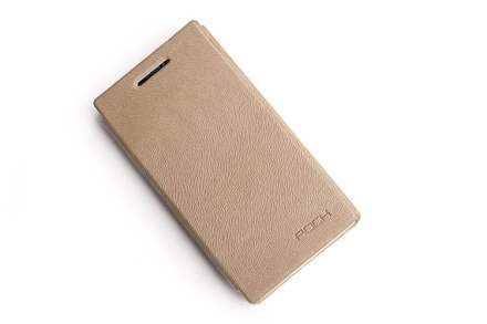 ROCK BigCity Book-Style Synthetic Leather Flip Case for Sony Xperia S LT26i - Desert Sand Leather Wallet Case