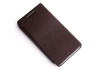 ROCK BigCity Book-Style Synthetic Leather Flip Case for Sony Xperia S LT26i - Dark Brown Leather Wallet Case
