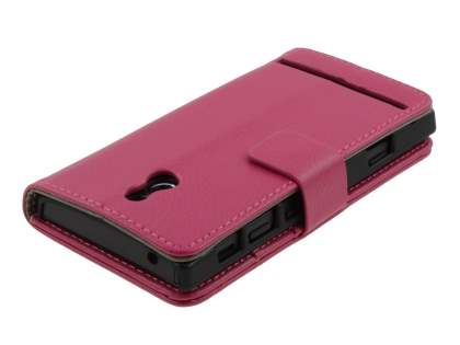 Sony Xperia P LT22i Slim Synthetic Leather Wallet Case with Stand - Pink