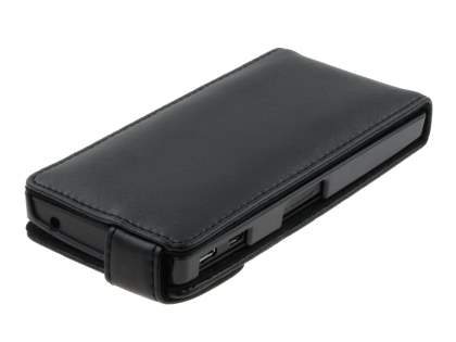 Sony Xperia P LT22i Genuine Leather Flip Case - Black