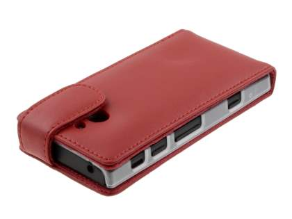 Genuine Leather Flip Case for Sony Xperia P LT22i - Red