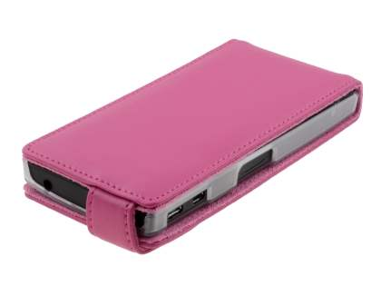 Sony Xperia P LT22i Genuine Leather Flip Case - Pink