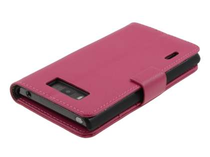 LG Optimus L7 P700 Slim Synthetic Leather Wallet Case with Stand - Pink