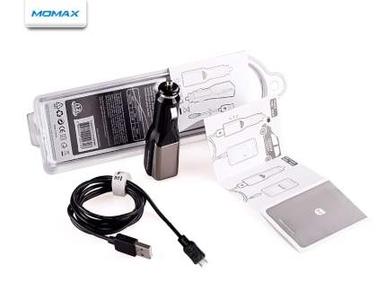 MOMAX Micro USB Super Car Charger & Data Cable - Piano Black