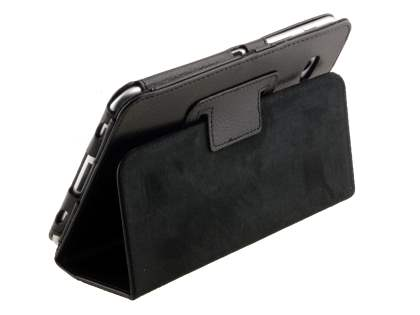 Synthetic Leather Flip Case with Fold-Back Stand for Samsung Galaxy Tab 7.0 Plus - Classic Black Leather Flip Case