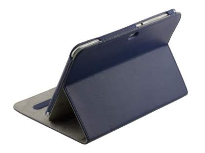 Samsung Galaxy Tab 8.9 4G Synthetic Leather Flip Case with Dual-Angle Tilt Stand - Dark Blue Leather Flip Case