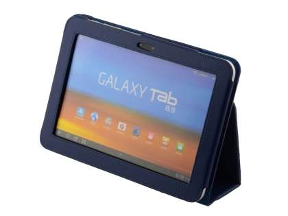 Samsung Galaxy Tab 8.9 4G Synthetic Leather Flip Case with Fold-Back Stand - Dark Blue