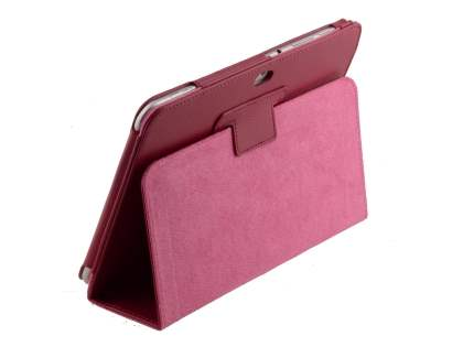 Synthetic Leather Flip Case with Fold-Back Stand for Samsung Galaxy Tab 8.9 4G - Raspberry Leather Flip Case