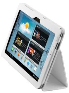 Samsung Galaxy Tab 10.1 Synthetic Leather Flip Case with Fold-Back Stand - Pearl White