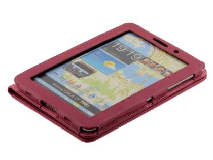 Samsung Galaxy Tab 7.7 P6800 Synthetic Leather Flip Case with Fold-Back Stand - Raspberry