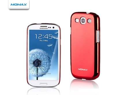 MOMAX Ultra-Thin Metallic Case for Samsung I9300 Galaxy S3 - Metallic Red Hard Case