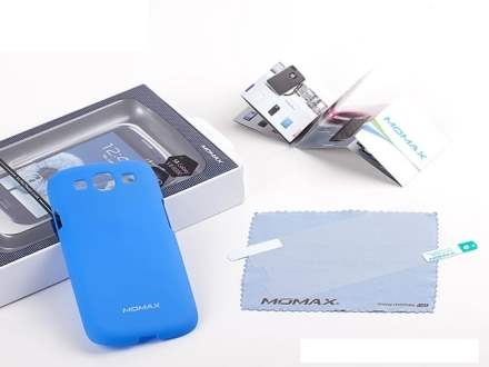 MOMAX Ultra Tough Slim Rubberised Case for Samsung I9300 Galaxy S3 - Sky Blue