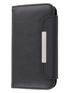 Stylish Synthetic Leather Wallet Case for Nokia Lumia 900 - Classic Black Leather Wallet Case