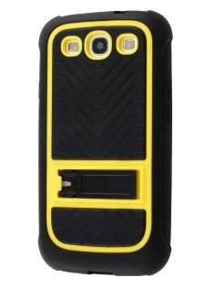 Dual-Design Stand Case for Samsung I9300 Galaxy S3 - Black/Yellow
