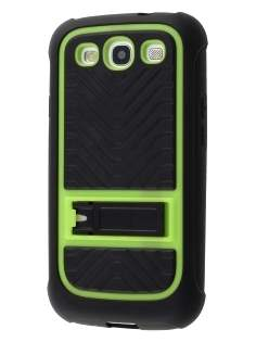 Samsung I9300 Galaxy S3 Dual-Design Stand Case - Black/Green