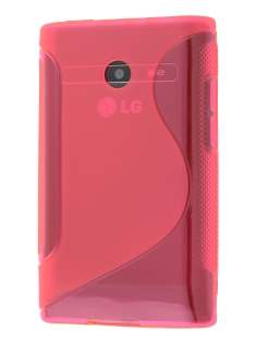 Wave Case for LG Optimus L3 E400/L2 E405 - Frosted Pink/Pink Soft Cover