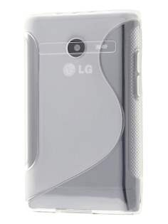 Wave Case for LG Optimus L3 E400/L2 E405 - Frosted Clear/Clear Soft Cover