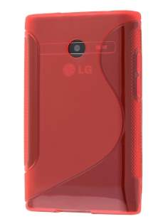 Wave Case for LG Optimus L3 E400/L2 E405 - Frosted Red/Red Soft Cover