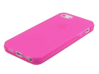 Frosted TPU Gel Case for iPhone SE/5s/5 - Hot Pink