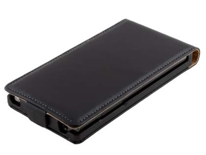 LG Optimus L7 P700 Slim Genuine Leather Flip Case - Classic Black