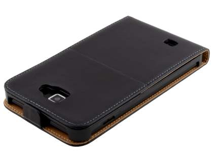 Slim Genuine Leather Flip Case for Samsung I9220 Galaxy Note - Classic Black